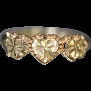 14KT Raised Diamond Cut Triple Heart Band in yellow gold