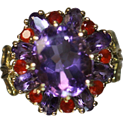 14KT Amethyst & Ruby Cluster Ring in Detailed Fleur de Lis Yellow Gold Mounting