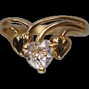 14KT Heart Cut Cubic Zirconia Split Shank Love Heart Ring in Yellow gold