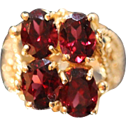 14KT Garnet Cluster with Ornate Detailed Rope Beaded Mount Ring in yellow gold