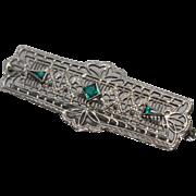 10k - Art Deco Filigree Bar Pin / Brooch in White Gold