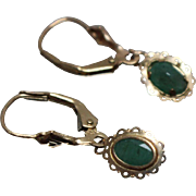 14k - .50 ct - Oval Emerald Wreath Design Fall Earring Leverback Dangles in Yellow Gold