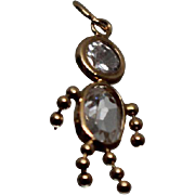 14k - April Clear Stone Birthstone Girl Pendant Charm in Yellow Gold