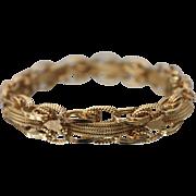 14KT Intricate Ornate Fancy Link Handmade Tennis Bracelet in Yellow Gold