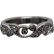 14k - .50 ct - Beaded Vine lattice Style Band in White Gold
