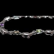 "925 - 7.5"" Multi Stone Garnet Amethyst Citrine Aquamarine & Peridot Dolphin Link Bracelet in Sterling Silver"