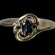 Dainty Modernist Swirl Design Sapphire & Diamond in 14kt Yellow Gold