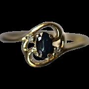 .40 CTW Dainty Modernist Swirl Design Sapphire & Diamond in 14kt Yellow Gold