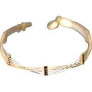 14k Tri Color Overlapping 6 Strand Straight Chain Bracelet in White, Yellow & Rose Gold