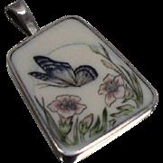 925 - Enameled Signed Scrimshaw Floral Butterfly Scene in Sterling Silver