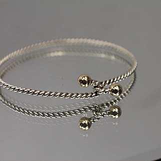 Two-Tone Twisted Cable Design Hooking Bangle with Rich 10k Yellow Ball Ends w/ Sterling Silver
