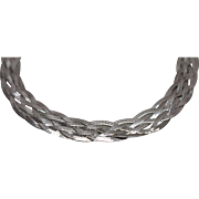 925 - 5 Strand Woven Herringbone Link Bracelet in Sterling Silver