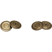 10k - Art Deco Woven Design Radiating Patterned Cufflinks in Yellow Gold