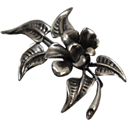 925 - Art Nouveau 3D 3 Dimensional Floral Flower Pin Brooch in Sterling Silver