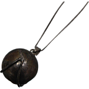"""925 - 30"""" - Box Link Chain with Articulating Spinning Gazing Ball Pendant Charm in Sterling Silver"""