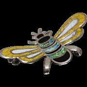925 - Artisan Signed JF Enameled Scarab Beatle Pin Brooch Pendant in Sterling Silver