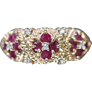 10k 1 CTW Diamond & Ruby Textured Beaded Detailed Band in Yellow Gold