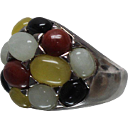 925 - Mutli Colored Stone Gumdrop Dome Ring in Sterling Silver