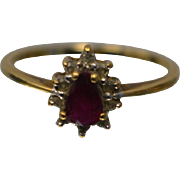 10KT Pear Ruby with Diamond Accents Mount Ring in Yellow Gold