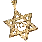 14k Diamond Cut Hebrew Jewish Star of David Pendant Charm in Yellow Gold