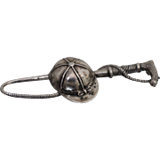 Sterling Silver - Jockey's Cap Hat & Whip Pin with Patina from Age!