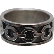 925 - Wide Rolo Cable Link Enameled / Antiqued Ring Band in Sterling Silver
