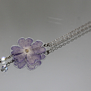 "925 - 18"" - Cable Link Chain with Purple Lilly Flower Pendant in Sterling Silver"