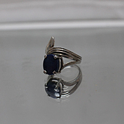 925 - Oval Blue Lapis in Fancy Bypass Grooved Sterling Silver