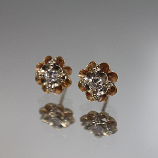 .25 CTW - 14k - Flower Designed Studs with Ruffled Tiered Mounting in Yellow Gold