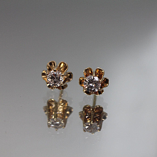 .45 CTW - 14k - Vintage Diamond Studs with Ruffled - Tiered Mounting in Yellow Gold