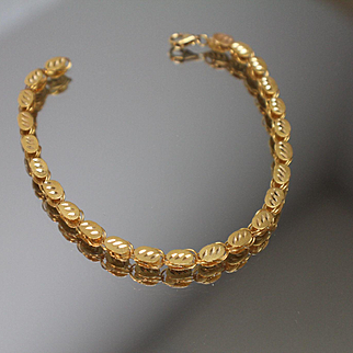18kt Asian Rich Yellow Hand Made Turkish Diamond Cut Link in Yellow Gold