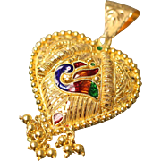 21k Asian Enameled Swan Ornate Chandelier Heart Pendant / Charm with Beaded Design in Yellow Gold