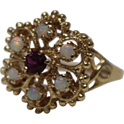 14k - .33 CTW - Victorian Revival Etruscan Opal & Ruby Cluster Cocktail in Yellow Gold