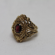 14k - 1.00 CT - Byzantine Etruscan Style with Deep Red Quartz in Center in Yellow Gold