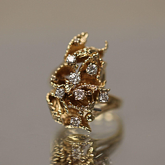.50 CTW Hand Made Diamond Cluster in Floral Leaf Design Cluster Unique in 14k Yellow Gold