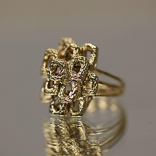 14k Unique Geometric Rectangular Symmetrical Hand Made Ring in Yellow Gold