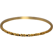 21k Rich, Bright Yellow Gold Ornate Asian Ribbed Fixed Bangle Bracelet with Diamond Cut Hammered Design