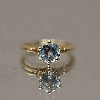 14KT Ornate Victorian Scroll Hand Made Mount with 1.5 CT Blue Topaz ring in yellow gold