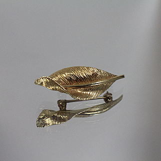 14k - Detailed & Brushed Flowing Leaf Design Pin Brooch in Yellow Gold