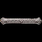 10k - .10 ct -  Art Deco Diamond Filigree Pin Tie Bar Brooch with diamond Cut Finish in White Gold