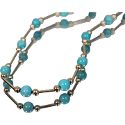 """14k - 17.75"""" - Beautiful Bright Blue Coral Stone & Gold Link Necklace in Yellow Gold"""