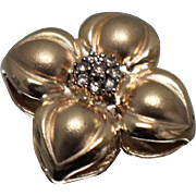 14k - .33 ct - Champagne Diamond Clustered Detail 3D Puffy Flower Slide Pendant in Yellow Gold