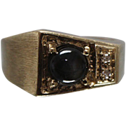 14k - 1.50 ctw - Smokey Topaz & Diamond Abstract Pinky Ring Style with Brushed Finish in Yellow Gold