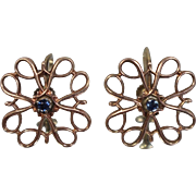 14k - .10 ct - Non Pierce Screw Back Symmetrical Blue Topaz Earrings with Patina in Yellow Gold