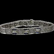 "18k - 1.00 ctw - 7.25"" - Art Deco European Filigree Sapphire & Diamond Link Bracelet in White Gold"