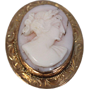 10k - Antique Victorian Cute Purple Hand Carved Cameo Pin with Fancy Design Yellow Gold Bezel