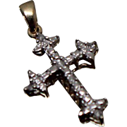 10k - .05 ct - Small Size Cute Bright White Diamond Cross Pendant in Yellow & White Gold