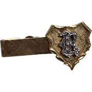 14k - .10 ct -  Shield Tie Tac with Diamond Encrusted Letter R Initial & Florentine Finish in Yellow Gold
