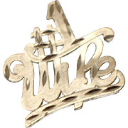 14k - Diamond Cut #1 Wife Worded Pendant Charm in Yellow Gold