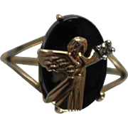 10k - Dainty Guardian Angel Black Onyx & Diamond Ring in Yellow Gold